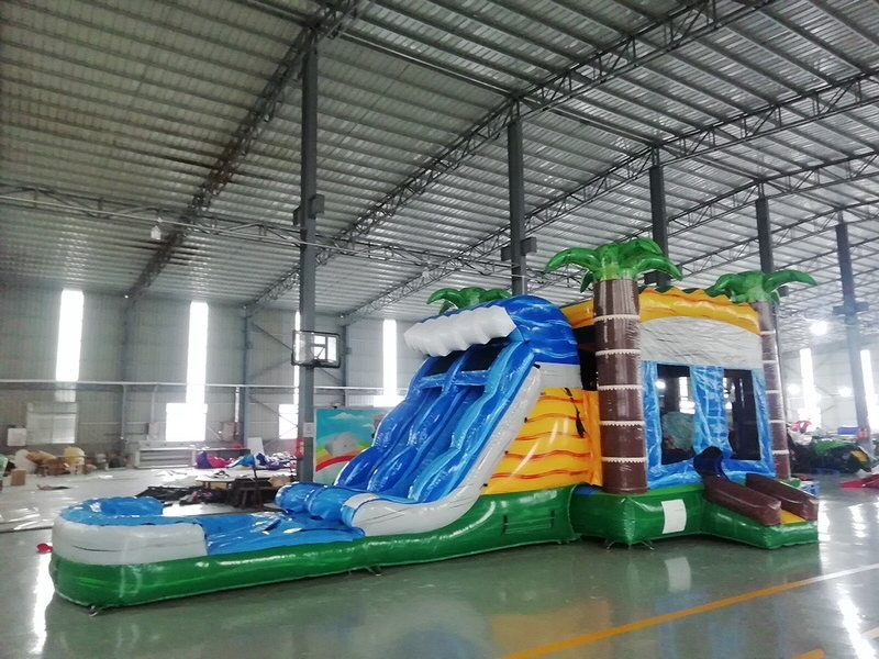 18' Blue Crush Inflatable Slide with Pool