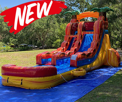17 Foot Fiesta Fire Inflatable Water Slide With Pool